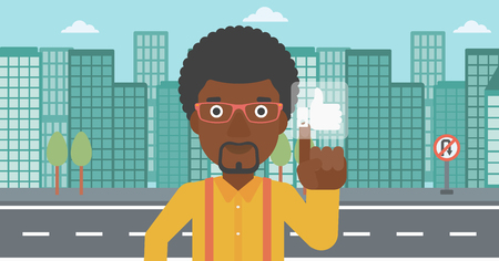 An african-american man pressing like button on a city background vector flat design illustration. Horizontal layout. Illustration