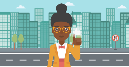 like button: An african-american woman pressing like button on the background of apartment vector flat design illustration. Horizontal layout.