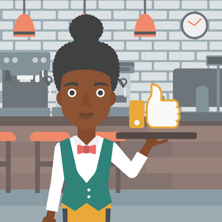 An african-american waitress carrying a tray with like button on a cafe background vector flat design illustration. Square layout.