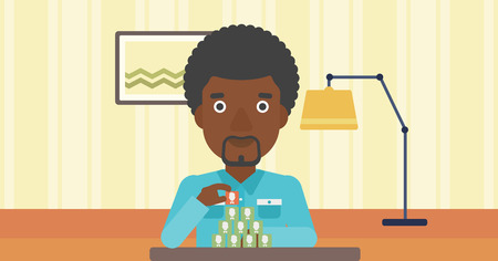 chat room: An african-american man making pyramid of avatars on the background of living room vector flat design illustration. Horizontal layout.
