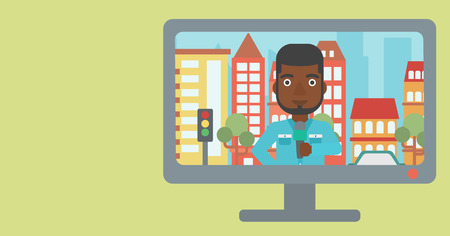 Television set broadcasting the news with an african-american reporter on a city background vector flat design illustration. Horizontal layout.