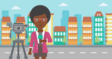 filming: A camera filming and an african-american  reporter standing with a microphone on a city background vector flat design illustration. Horizontal layout.
