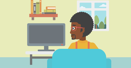 lcd tv: An african-american man sitting on the couch in living room and watching tv vector flat design illustration. Horizontal layout. Illustration