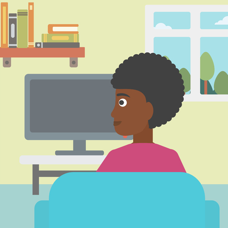 living room design: An african-american woman sitting on the couch in living room and watching tv vector flat design illustration. Square layout.