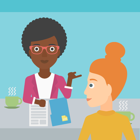 two people meeting: A journalist interviewing an african-american woman on a light blue background vector flat design illustration. Square layout. Illustration