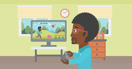 woman watching tv: An african-american woman sitting on the couch in living room and watching tv vector flat design illustration. Horizontal layout. Illustration