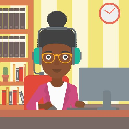 internet online: An african-american woman in headphones sitting in front of computer monitor with mouse in hand on the background ofliving room vector flat design illustration. Square layout. Illustration