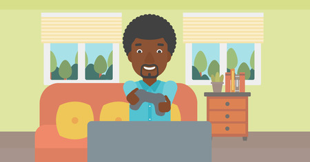 An enthusiastic african-american man sitting on a sofa with gamepad in hands in living room vector flat design illustration. Horizontal layout. 矢量图像