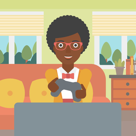 An enthusiastic african-american woman sitting on a sofa with gamepad in hands in living room vector flat design illustration. Square layout. Vettoriali