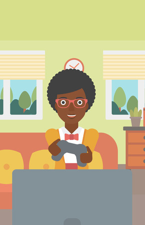 enthusiastic: An enthusiastic african-american woman sitting on a sofa with gamepad in hands in living room vector flat design illustration. Vertical layout. Illustration