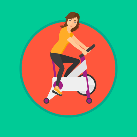 Woman riding stationary bicycle. Sporty woman exercising on stationary training bicycle. Woman training on exercise bike. Vector flat design illustration in the circle isolated on background. Ilustracja