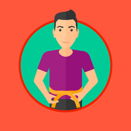 waistline: Young man measuring his waistline with a tape. Man measuring with tape the abdomen. Man with centimeter on a waist. Vector flat design illustration in the circle isolated on background.