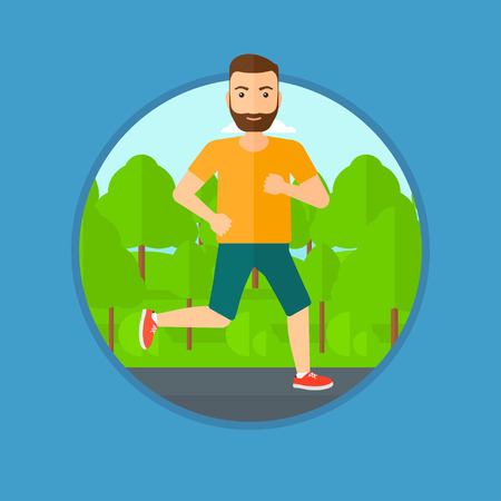 road runner: Young hipster man with the beard running. Male runner jogging outdoors. Sportsman running in the park. Running man on forest road. Vector flat design illustration in the circle isolated on background. Illustration