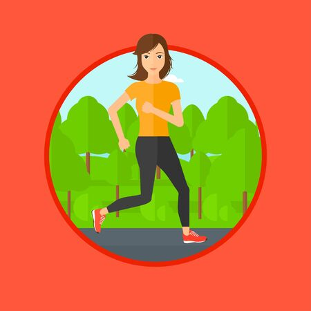 road runner: Young woman running. Female sportive runner jogging outdoors. Sports woman running in the park. Running woman on forest road. Vector flat design illustration in the circle isolated on background.