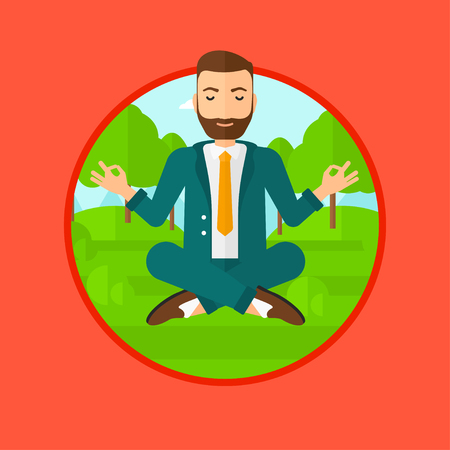 concentrating: A hipster businessman with the beard meditating in yoga lotus position. Businessman relaxing in the park in the lotus position. Vector flat design illustration in the circle isolated on background.