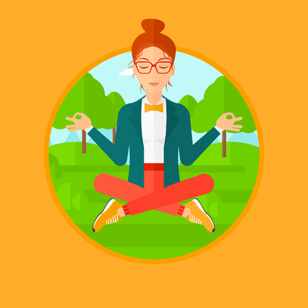woman meditating: Young business woman meditating in yoga lotus position outdoor. Business woman relaxing in the park in the lotus position. Vector flat design illustration in the circle isolated on background. Vectores