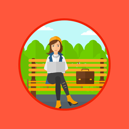 laptop outside: Young business woman with briefcase working in the park. Woman working on a laptop. Business woman sitting on a bench with laptop. Vector flat design illustration in the circle isolated on background.