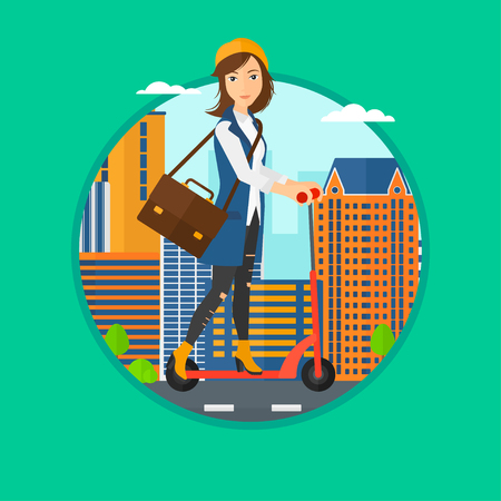 kick out: Woman riding a kick scooter. Business woman with briefcase riding to work on scooter. Woman on kick scooter in the city street. Vector flat design illustration in the circle isolated on background.