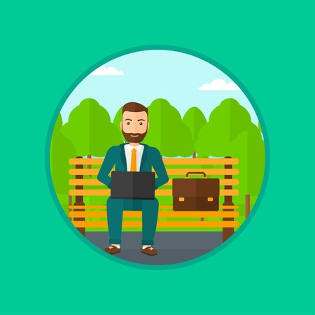 laptop outside: A hipster businessman with the beard working in the park. Man working on a laptop. Businessman sitting on a bench with laptop. Vector flat design illustration in the circle isolated on background.