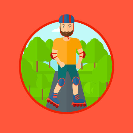 rollerskates: Sporty man on roller-skates in the park. Full length of hipster sportsman in protective sportwear on rollers skating outdoors. Vector flat design illustration in the circle isolated on background.