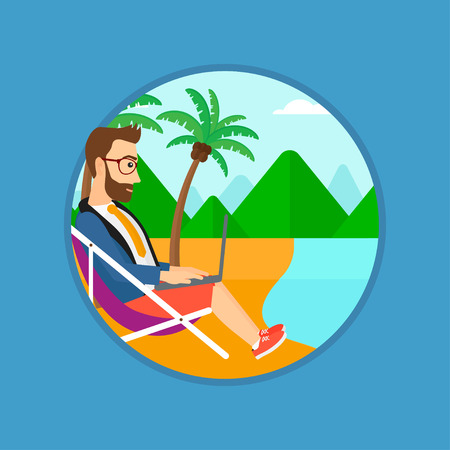 chaise lounge: A hipster businessman with the beard working on the beach. Businessman sitting in chaise lounge and working on a laptop. Vector flat design illustration in the circle isolated on background. Illustration