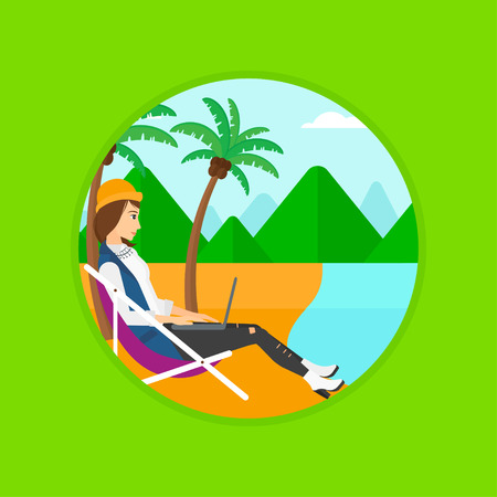 chaise lounge: Business woman sitting in chaise lounge and working on a laptop. Woman working on beach. Woman with laptop relaxing on the beach. Vector flat design illustration in the circle isolated on background.
