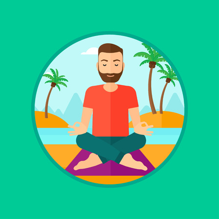 man meditating: A hipster man with the beard meditating in yoga lotus pose on the beach. Man relaxing on the beach in the yoga lotus position. Vector flat design illustration in the circle isolated on background.