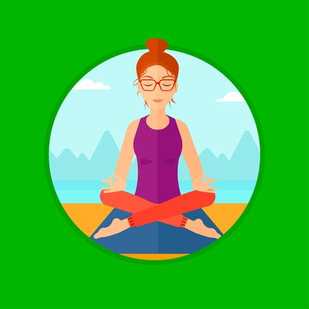 woman meditating: Mujer joven meditando en yoga loto plantean al aire libre. Mujer que se relaja en la posici�n de loto yoga. Mujer que hace yoga en la naturaleza. Vector ilustraci�n de dise�o plano en el c�rculo aislado en el fondo.
