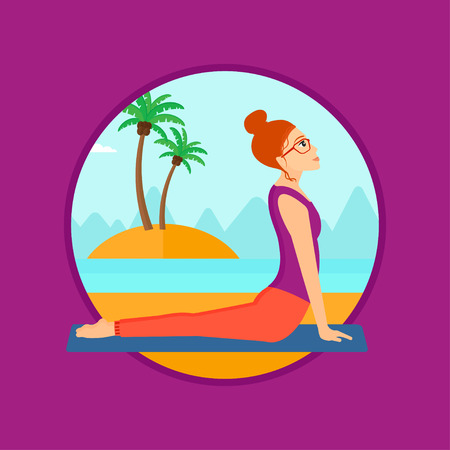yoga outside: Woman practicing yoga upward dog position. Woman meditating in yoga upward dog position on the beach. Woman doing yoga on nature. Vector flat design illustration in the circle isolated on background.