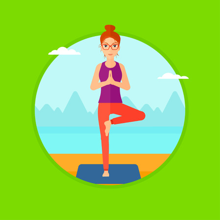 yoga outside: Young woman standing in yoga tree position. Woman meditating in yoga tree position on the beach. Man doing yoga on nature. Vector flat design illustration in the circle isolated on background.