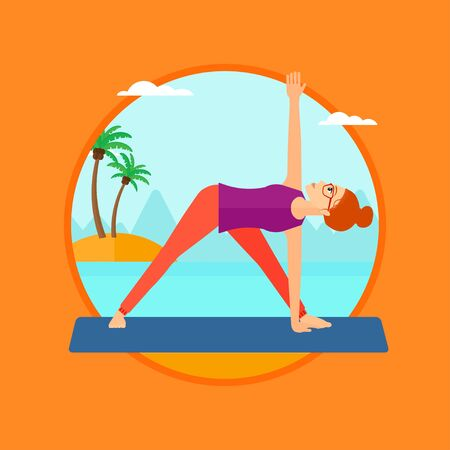 yoga outside: Woman standing in yoga triangle position. Woman meditating in yoga triangle position on the beach. Woman doing yoga on nature. Vector flat design illustration in the circle isolated on background.