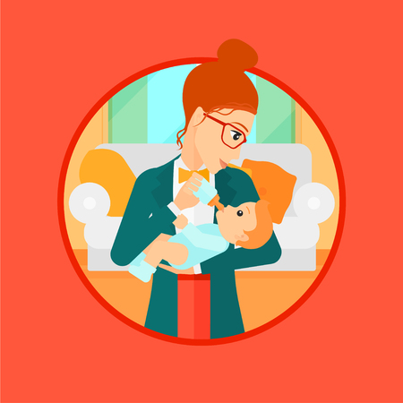 mother and baby: Young mother feeding baby boy with a milk bottle. Mother feeding newborn baby at home. Baby boy drinking milk from bottle. Vector flat design illustration in the circle isolated on background.