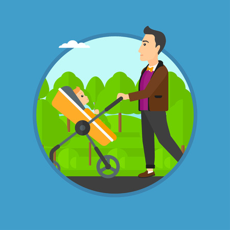fatherhood: Young father walking with baby stroller in the park. Father walking with his baby in stroller. Father pushing baby stroller. Vector flat design illustration in the circle isolated on background.