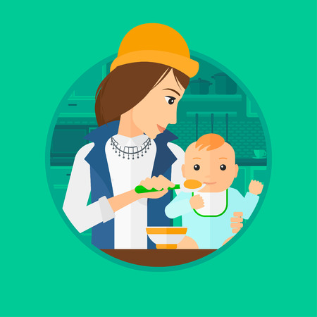 Mother feeding baby boy at home. Young mother teaching baby boy to eat with spoon. Mother spoon-feeding her baby at kitchen. Vector flat design illustration in the circle isolated on background. 向量圖像