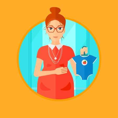 bodysuit: Pregnant woman holding clothes for her baby. Pregnant woman with bodysuit for baby. Pregnant woman with presents at baby shower. Vector flat design illustration in the circle isolated on background.