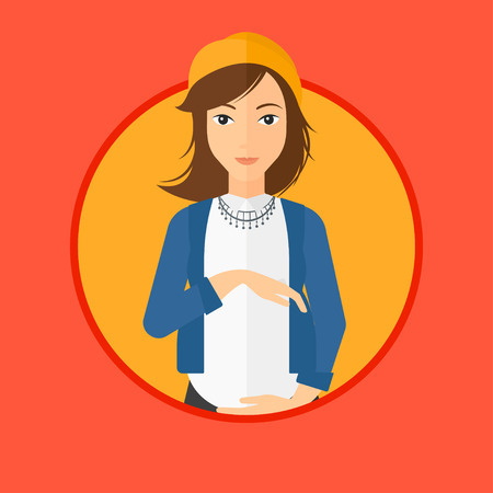 happy pregnant: Pregnant woman holding her hands on belly. Pregnant woman touching her belly. Young happy pregnant woman. Vector flat design illustration in the circle isolated on background. Illustration