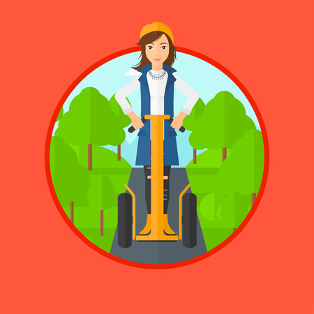 woman driving: Woman driving electric scooter. Woman on self-balancing electric scooter with two wheels. Woman on electric scooter in the park. Vector flat design illustration in the circle isolated on background. Illustration