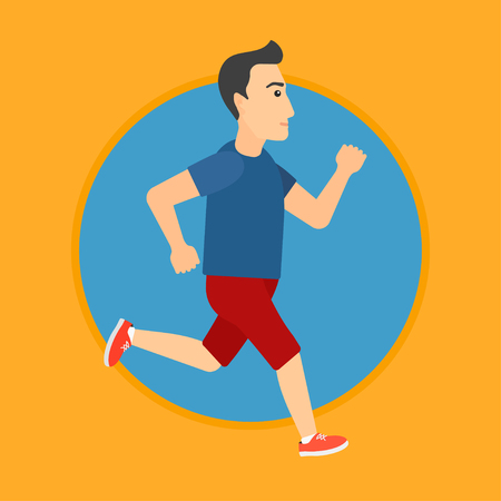 male athlete: Young man running. Male runner jogging. Full length of a male athlete running. Sportsman in sportswear running. Vector flat design illustration in the circle isolated on background.