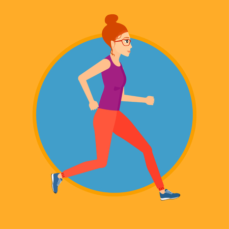 woman running: Young woman running. Female runner jogging. Full length of a female athlete running. Sports woman in sportswear running. Vector flat design illustration in the circle isolated on background.