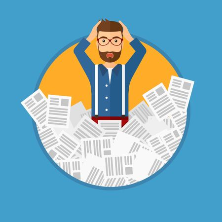 lots: Stressed man with the beard clutching his head because of having a lot of work to do. Busy businessman with lots of papers. Vector flat design illustration in the circle isolated on background.