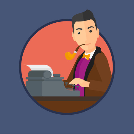 article writing: Journalist writing an article on a vintage typewriter. Journalist working on retro typewriter. Journalist at work smoking pipe. Vector flat design illustration in the circle isolated on background.
