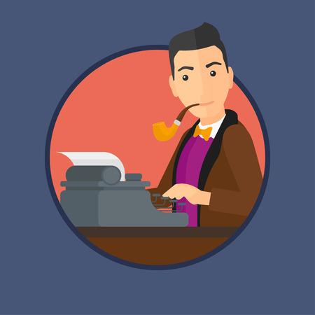 hombre escribiendo: Periodista que escribe un artículo sobre una máquina de escribir de la vendimia. Periodista que trabaja en la máquina de escribir retro. Periodista en pipa de fumar de trabajo. Vector ilustración de diseño plano en el círculo aislado en el fondo.