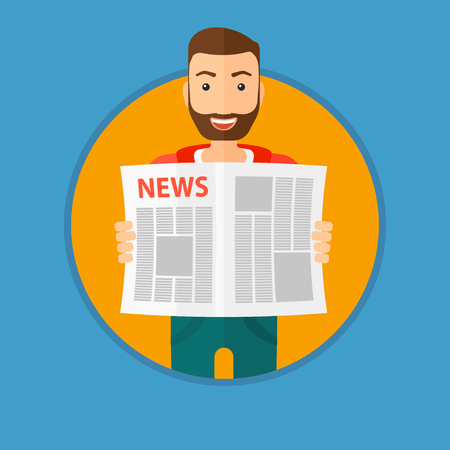 newsman: A happy hipster man with the beard reading the newspaper. Young smiling man reading good news. Man with newspaper in hands. Vector flat design illustration in the circle isolated on background. Illustration