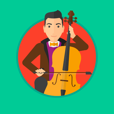 cellist: Young man playing cello. Cellist playing classical music on cello. Young man with cello and bow. Vector flat design illustration in the circle isolated on background. Illustration