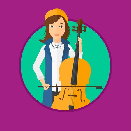 cellist: Young woman playing cello. Cellist playing classical music on cello. Young woman with cello and bow. Vector flat design illustration in the circle isolated on background.