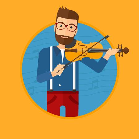 Hipster man spelen viool. Violist het spelen van klassieke muziek op viool. Man met viool op een blauwe achtergrond met muziek notities. Vector platte ontwerp illustratie in de cirkel geïsoleerd op de achtergrond.