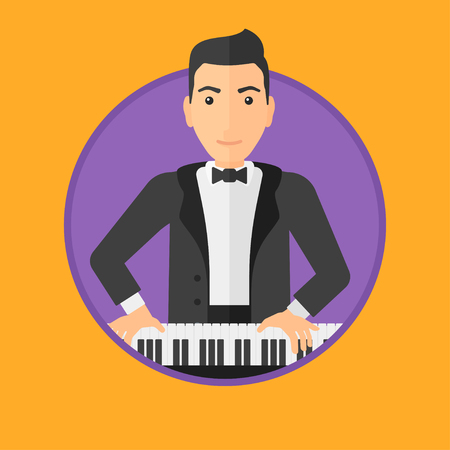 pianoforte: Young musician playing piano. Pianist playing upright piano. Male artist playing on synthesizer. Vector flat design illustration in the circle isolated on background.