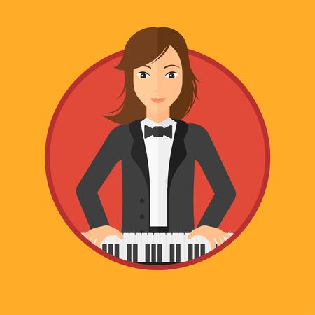 tocando el piano: Joven músico tocando el piano. Pianista tocando piano vertical. Artista de sexo femenino que juega en el sintetizador. Vector ilustración de diseño plano en el círculo aislado en el fondo.