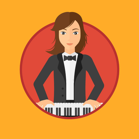 playing piano: Young musician playing piano. Pianist playing upright piano. Female artist playing on synthesizer. Vector flat design illustration in the circle isolated on background. Illustration
