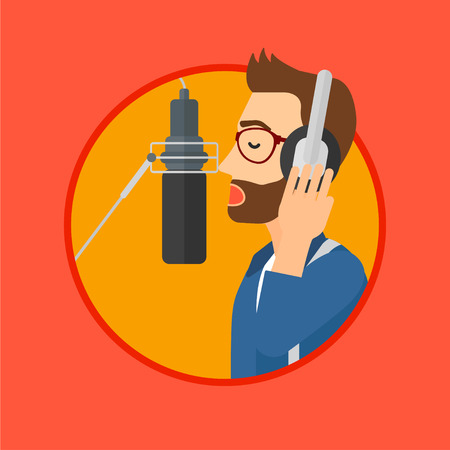 recording studio: Young man in headphones singing in recording studio. Hpster singer making a record of his voice. Young singer recording a song. Vector flat design illustration in the circle isolated on background.